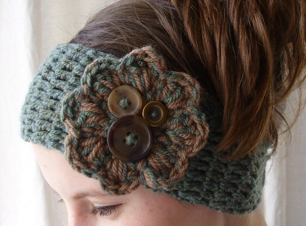 Crochet boho headband headwrap earwarmer - Adult size - green
