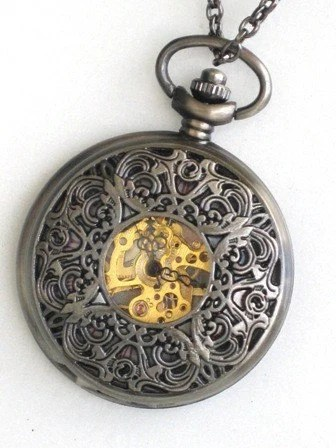 Steampunk - ROYAL VICTORIAN TIMES -  Pocket Watch - Mechanical - Large - Skeleton Style - Necklace - Antique Brass  - Neo Victorian - By GlazedBlackCherry