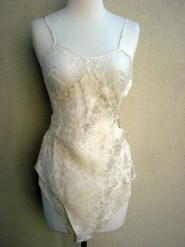 1930s 40s Chemise Teddy Silk Rose pattern Lace backless