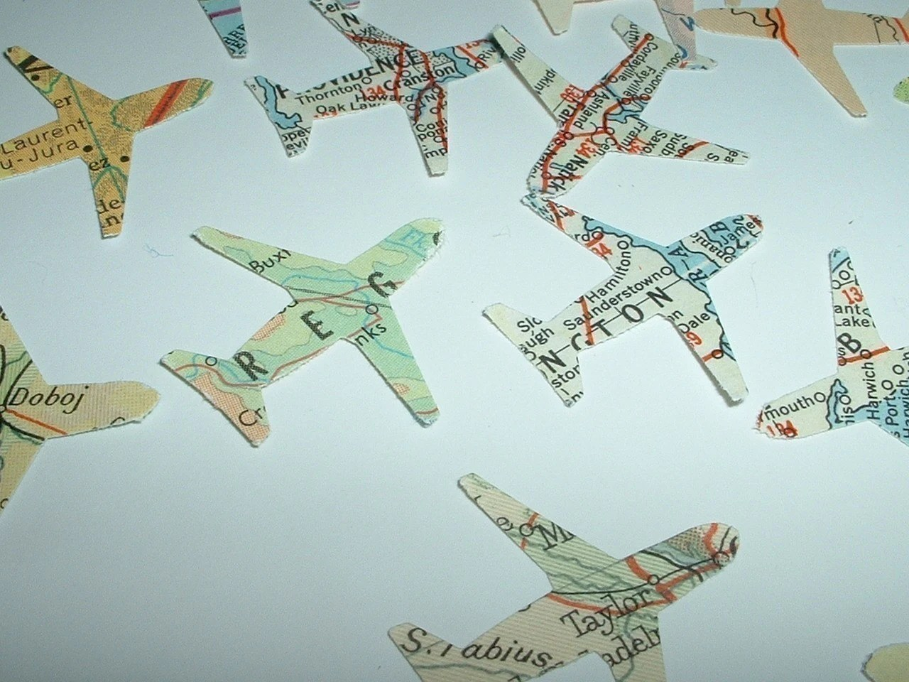 100 AIRPLANES Vintage Atlas Map Punches for Travel Theme Projects and Parties