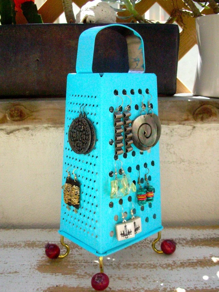 Earring Holder,Display,  Unique Re purposed surrealistic style object, teal