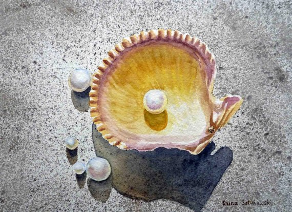 Sea Shell and Pearls Original Painting - Art - Watercolor Painting by Irina - 5 x 7 - IrinaSztukowski