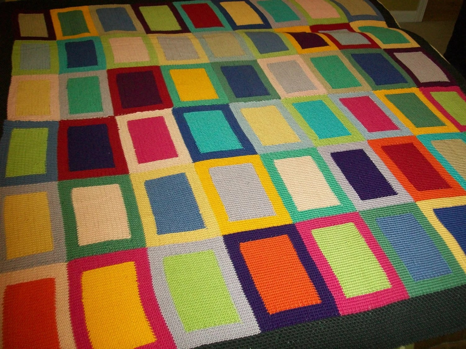 One of a Kind, Hand Knit, Multicolored, Geometric Original Pattern Lap Blanket