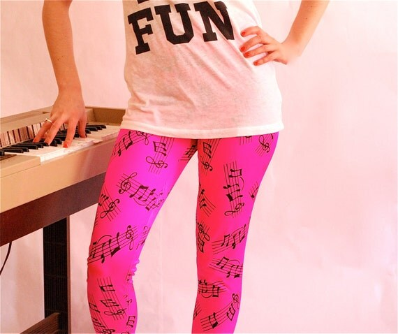 SALE Neon pink Music Note high waist Leggings XS S M