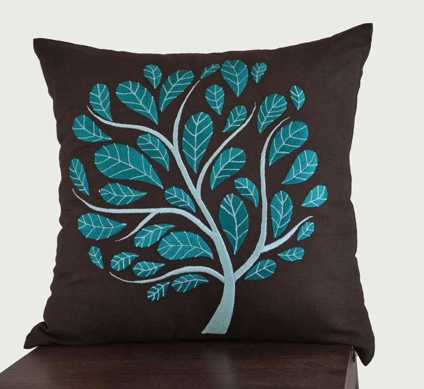 "Deep Teal Peacock Tree -  Throw Pillow Cover-18"" x 18"" Decorative Pillow Cover - Dark Brown Linen with Deep Teal Floral Embroidery"