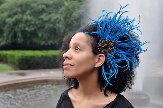 Blue Feather Ethnic Natural Hair Headband