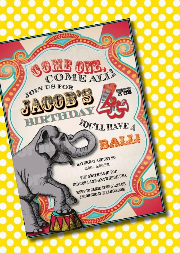 DIY Printable Vintage Carnival Customizable Birthday Party Invitation