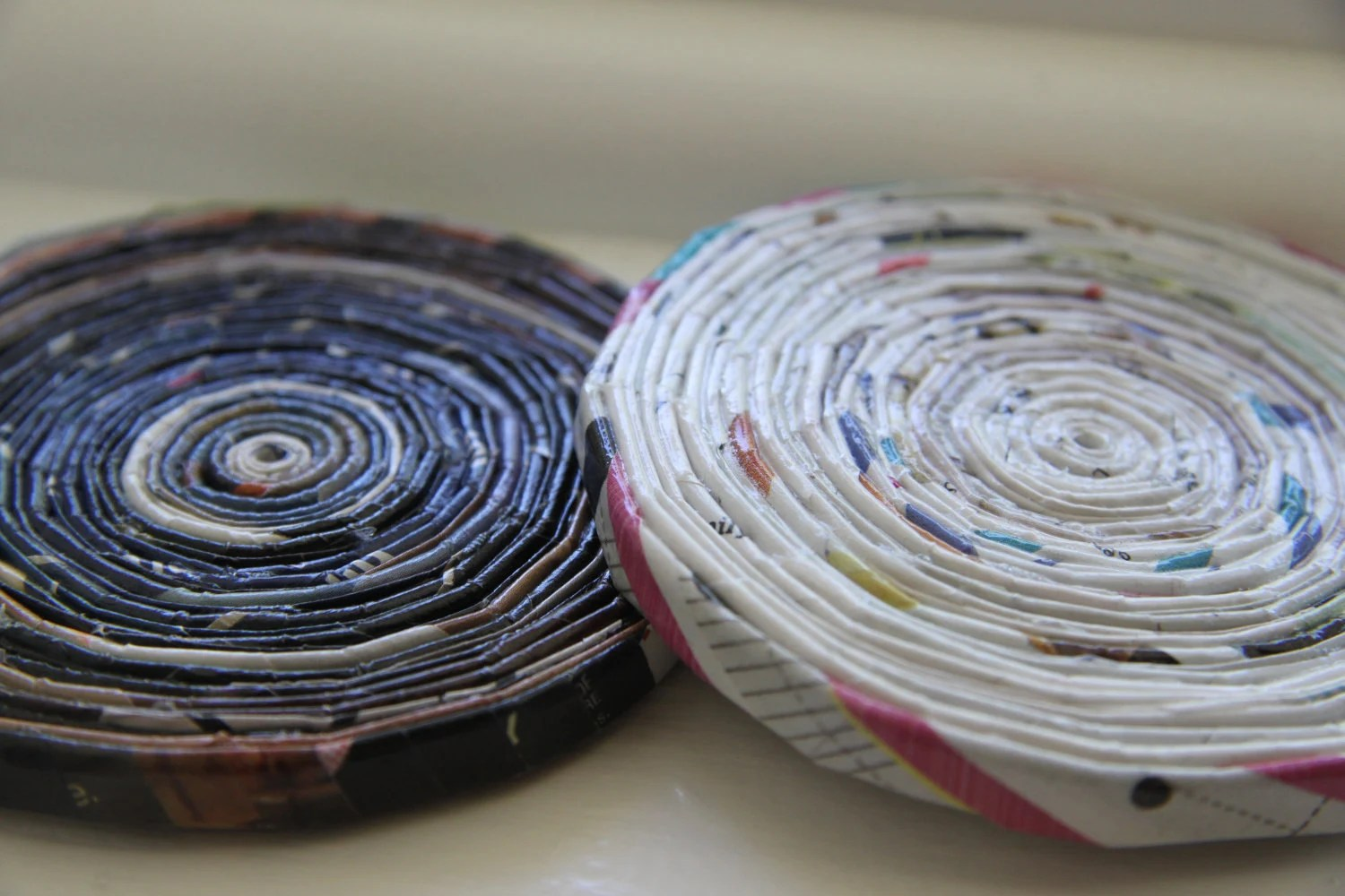 Light and Dark. Set of 2 Upcycled Magazine Page Coasters