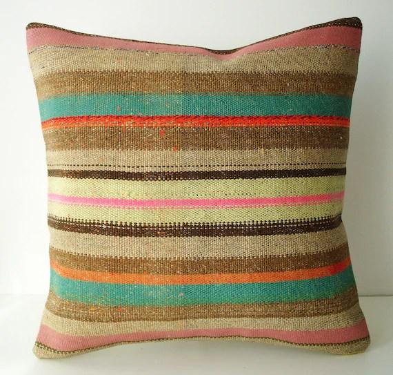 Sukan / Hand Woven - Turkish  Kilim Pillow Cover - 18x18