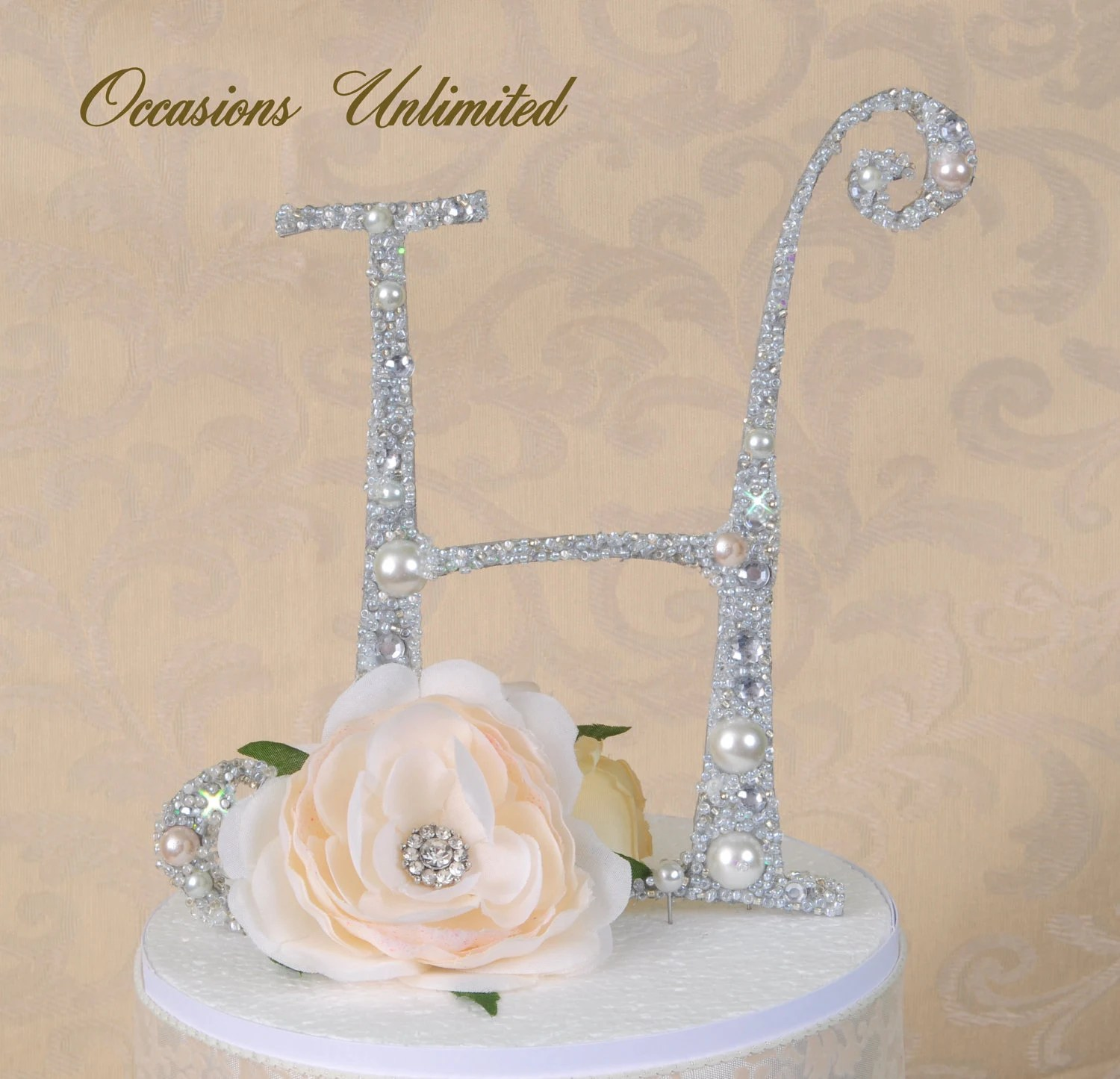Cake Topper - Cake Top Bling Wedding Monogram pearls and crystals