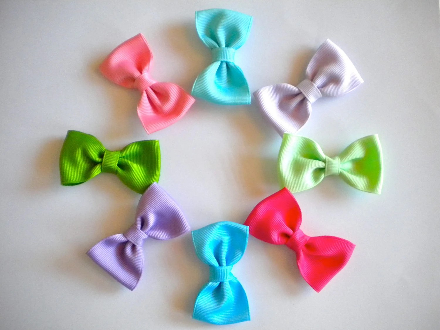 Tuxedo Hair Bows -- You Choose Four: Purple, Blue, Pink, Green
