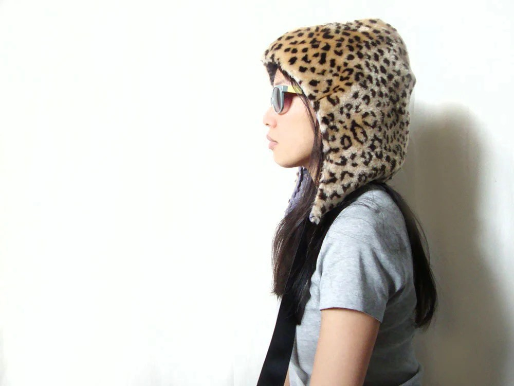 Furry Friends Leopard Spotted Faux Fur Hat/Hood  (Cream, Tan, Brown, Black)