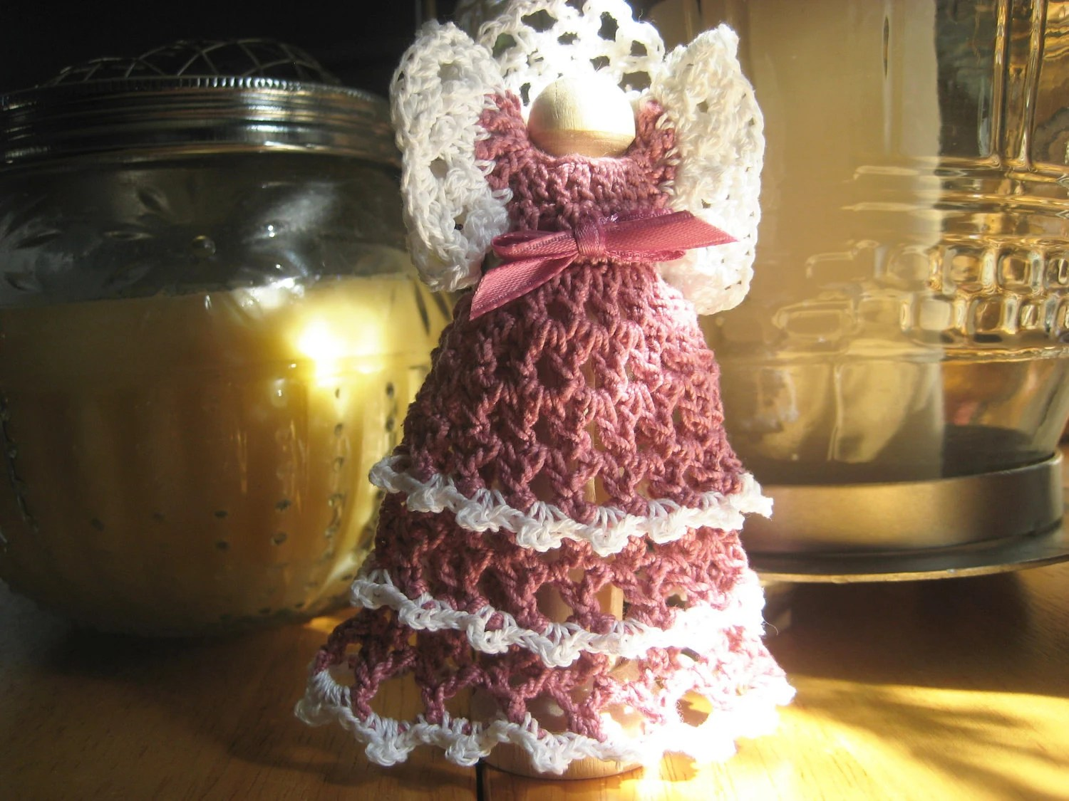 Mauve Handmade Crochet Clothespin Angel Ornament with Stand