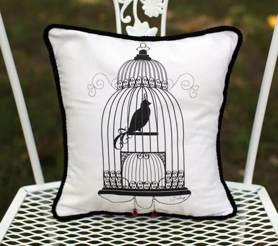 Bird Cage decorative Accent Pillow
