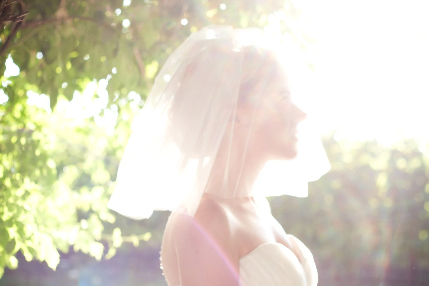Wedding Veil - Short, Shoulder Length, 4 Layer Veil. Available in White, Diamond White, Pink and Ivory. The Prudy Veil - Made To Order.