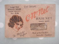 C-No-Net 1930s Real Hair Net in Orginal Packaging - large size No.5S Dark Brown