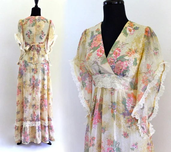 BoHo Hippie CottoN GauZe Lace EmPire PraiRie iVory fLoRaL CountrY WeDDing Gown MaXi DreSs . XS . small . shelf 07