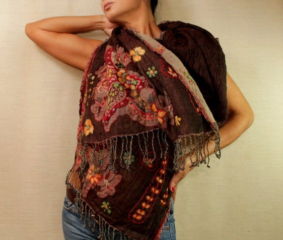 Autumn Flowers/ Dark Brown Shawl Scarf  Stole / Wool Woven Hand Embroidery Flowers / Fall Fashion