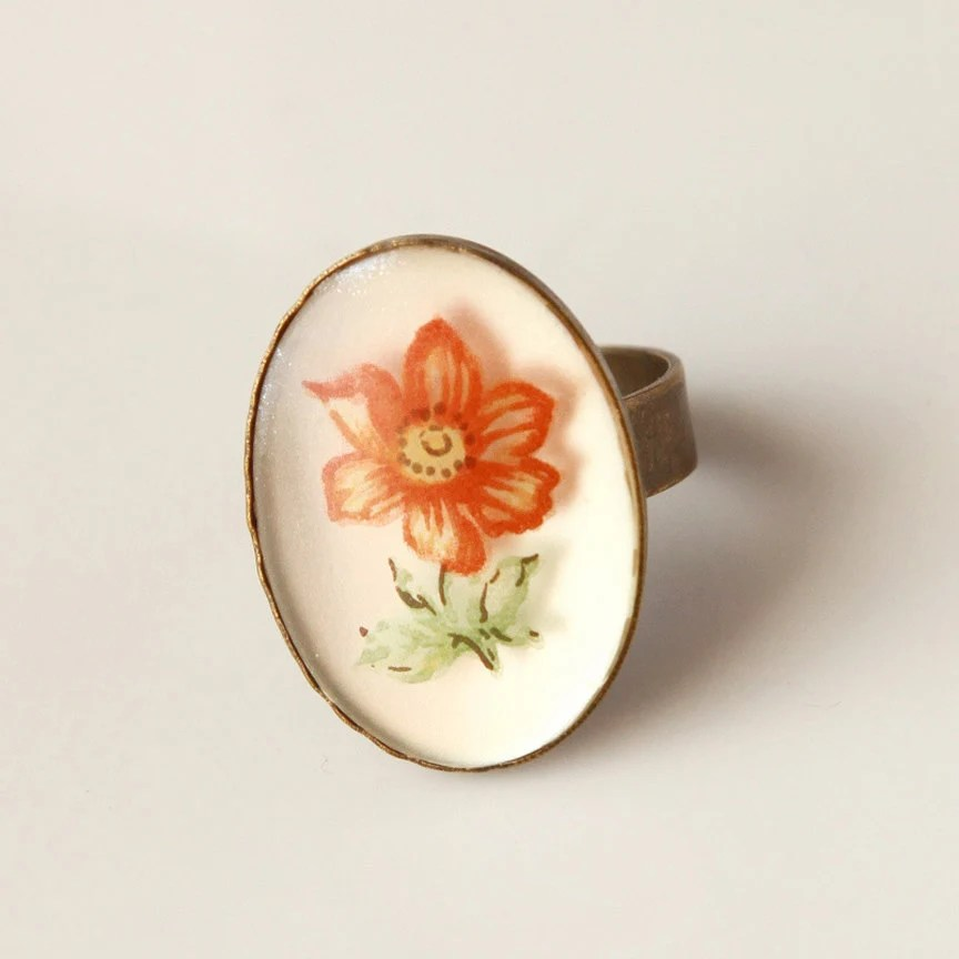 Orange Poppy - Vintage Floral Ring