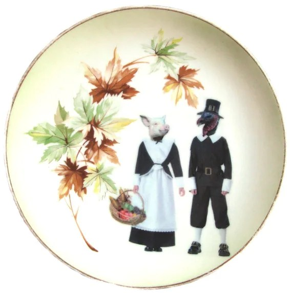Ham and Turkey Thanksgiving Plate - Altered Vintage Plate