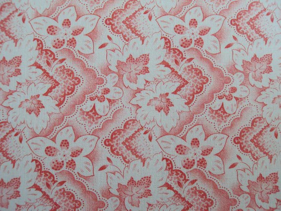 Vintage French Fabric Red and White Leaves Suitable for Patchwork Quilting, Lavender Bags Feedsack
