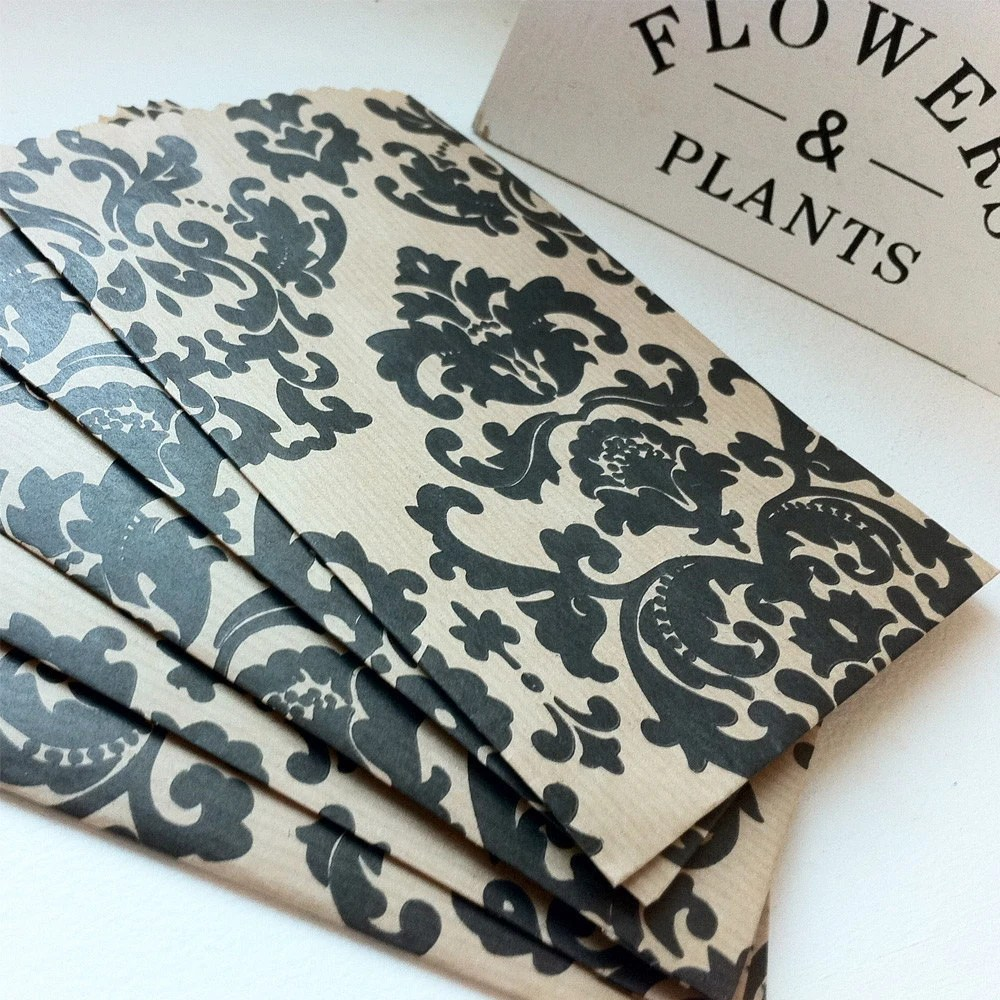 Black Damask Print Set of 20 Favor Paper Bags from DayzeeLoveDesigns