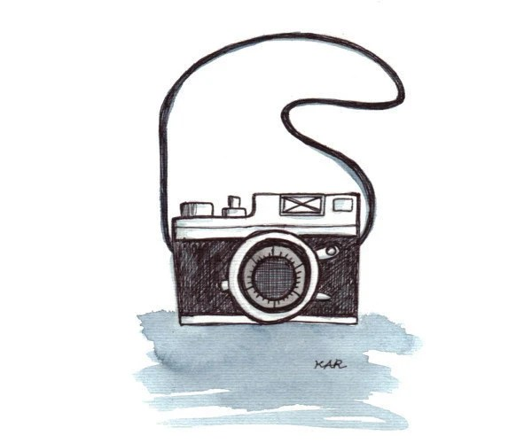 Retro Camera 4x6 original illustration