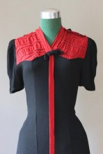 1930s Dress / Vintage 30s 40s Black and Red Colorblock Bow Dress