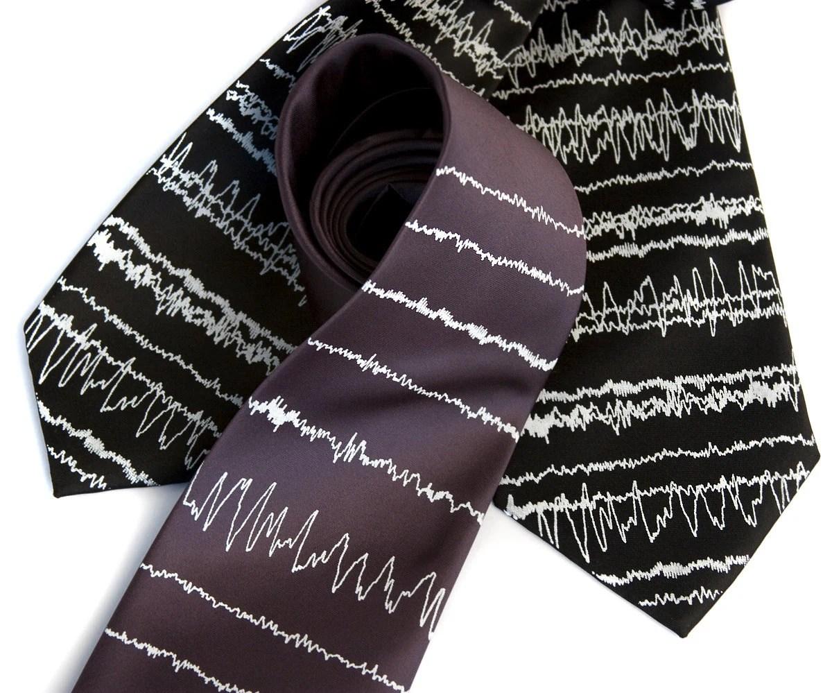 """Brainwaves necktie, """"Insomnia."""" Sleep cycles silkscreened tie, white ink. Choose standard, narrow or skinny."""