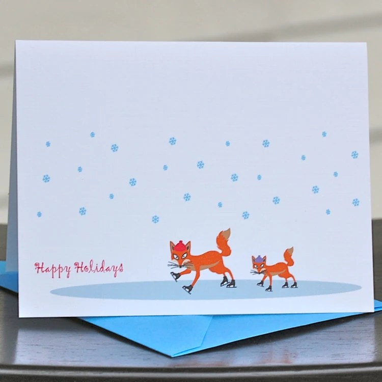 Christmas Cards / Holiday Cards - One Cool Fox Folded Holiday Cards