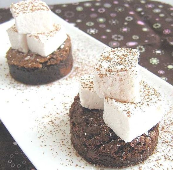 Hot Chocolate Brownies with homemade marshmallows on top