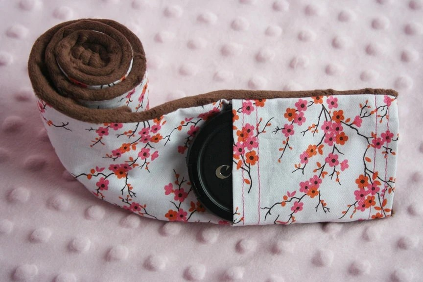 Camera Strap Cover with Lens Cap Pocket - Brown Padded Minky - Cherry Blossom