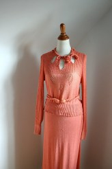 Vintage 1930s Nasturtium Orange Knit Sweater Dress Set /As Is
