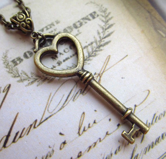Skeleton Key Necklace in Antique Brass Finish, Extra Long Chain