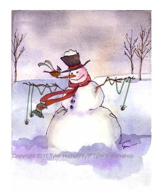 Christmas Snowman Card, Snowman Art, Snowman Greeting Card, Snowman llustration Watercolor Painting Print
