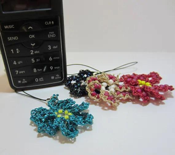 Beaded Crochet Teal Blue Flower Cell Phone Charm, Zipper Pull