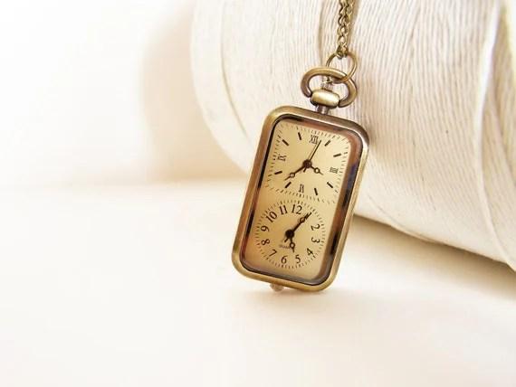 Vintage Rectangular Double Clock Pocketwatch