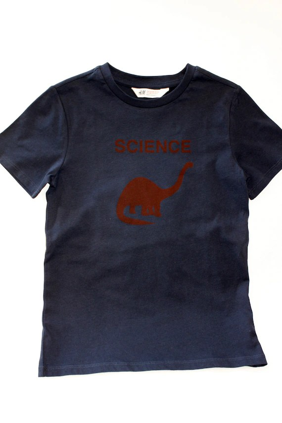 navy dino science t-shirt