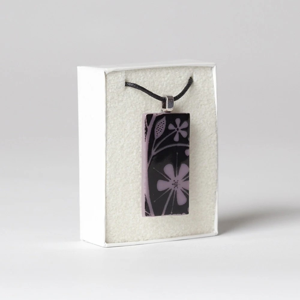Glass Flower Pendant Purple Black Enamel on Cotton