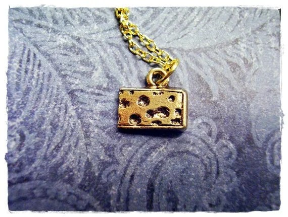 Tiny Swiss Cheese Wedge Charm Necklace in Antique Gold Pewter with a Delicate 18 Inch Gold Plated Cable Chain