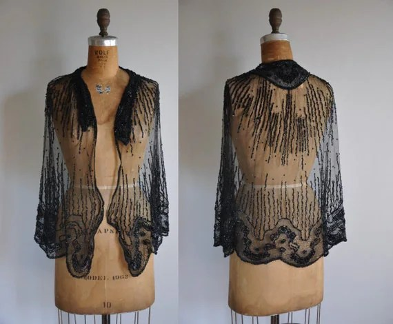 vintage antique 1920s Glitz and Glamor sequin cape