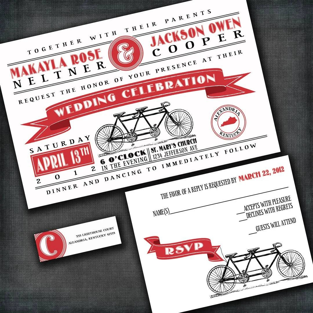 Tandem Bicycle Custom Wedding Invitation Suite with RSVP cards and address labels