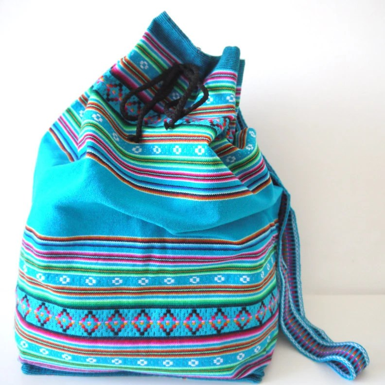 Tribal Fabric Backpack, Latin American, Peru, Blue Colorful Stripes