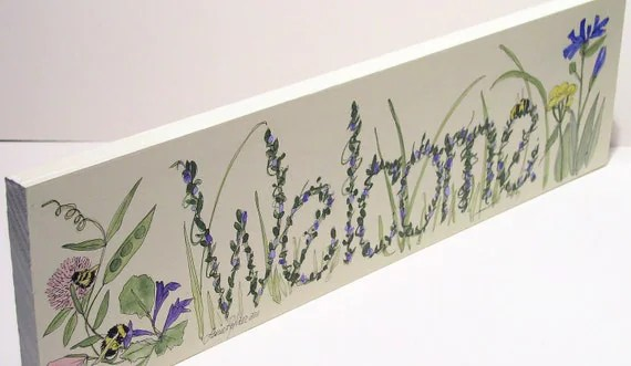 Welcome Sign White with Wildflowers Wood