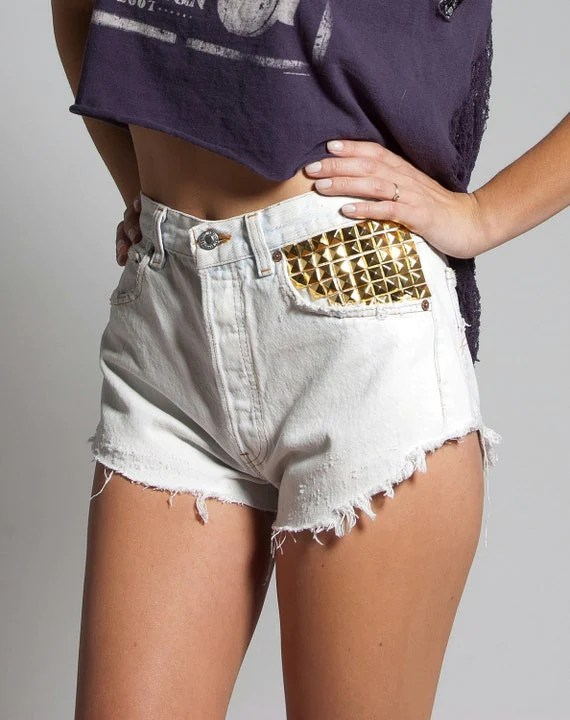Gold Studded White Levis Shorts