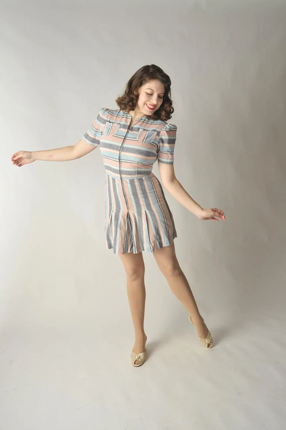 Vintage 1940s Playsuit // Summer Fashion at Fab Gabs: The Rosie Pastel Striped Play Suit