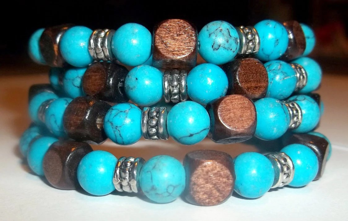 Wrap Bracelet--Turquoise and Wood
