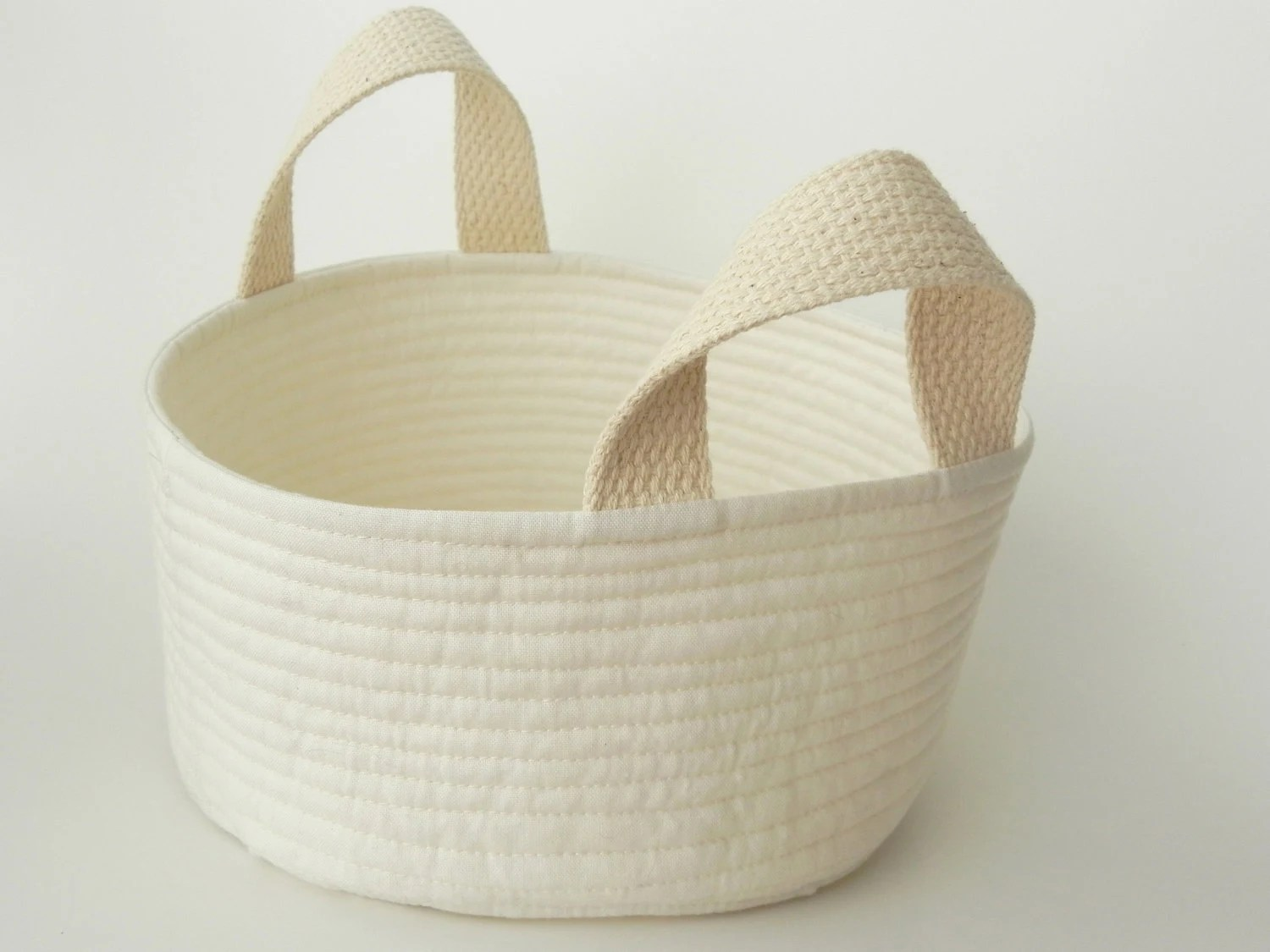 "Fabric Bin - Fabric Basket - Quilted Cotton Storage Bucket with Handles - 7"" wide x 4"" tall - Natural"