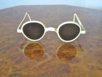 1930s-40s Sunglasses / Rare cream colour and super-flattering shape