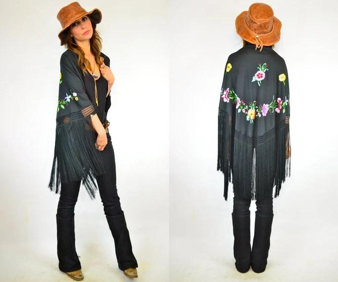 desert rose embroidered gypsy shawl, osfa